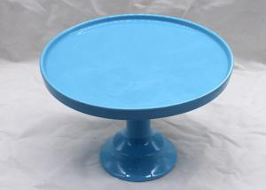 China Blue Color Ceramic Cake Stand Dolomite Cake Tools Customized Size / Color on sale
