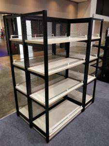 China Anti Rust Free Standing Shop Shelves , Wood Shelves With Metal Frame on sale