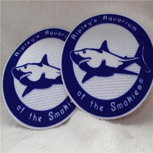 China Double Color Round Shape Iron On Custom Patches Shark Logo Tatami Flocking With Hot Melt Glue on sale