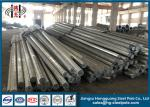 16m Galvanized Steel Pole With Flange Mode , Power Transmission Poles