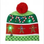 Winter LED lighted Christmas Decoration With Flashing Knitted Beanie Christmas Hats knit cap
