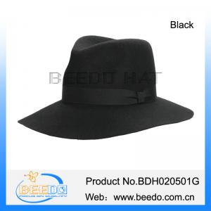 c7967e0772983 Quality Classical fashion wool felt wide brim black fedora panama hat  wholesale for sale