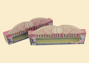 China Pink Coloured Cardboard Boxes With Lids Clear Window False Eyelashes Packaging on sale