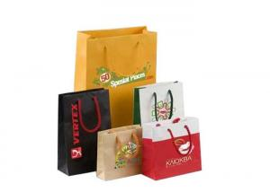 China Colorful Custom Logo Printed Gift Paper Gift Bags / Shopping Bag With Handles on sale