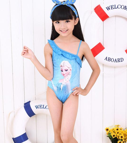 Wholesale Ruffle Neck Line Blue Frozen Elsa Anna Swimwear Girls