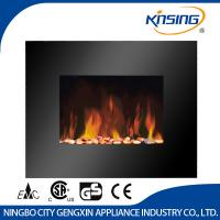 China 26Black Flat Tempered Glass Wall Mounted Electric Fireplace Heater(Pebbles Fuel) on sale