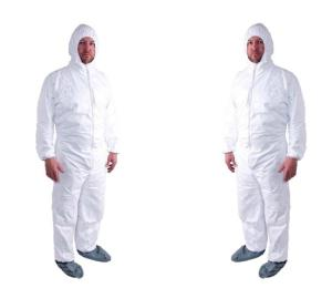 China Anti Static Silicone Free Disposable Coverall Suit S To 5XL Elastic / Knitted Cuff on sale