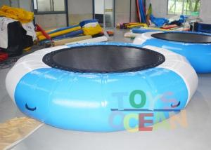 China 0.9MM PVC Bule / White Inflatable Jumping Water Trampoline For Water Sport Game on sale