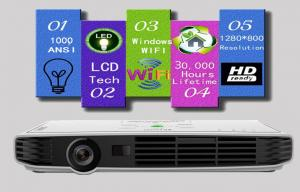 China Full HD 1080P Wifi Portable Business Projector , Widescreen DLP 3D Beamer on sale