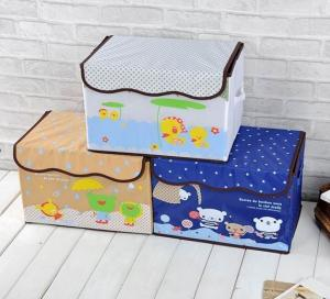 China Lovely animal design toy storage box polyester cartoon storage box for kids on sale