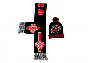 China Black Jacquard Pattern Winter Accessories Beanie Hat With Scarf Set / Knit Pom on sale