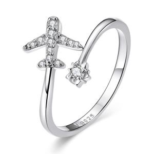 China 925 Sterling Silver Rings Open Flower Airplane Cubic Zirconia Faraway Rings on sale