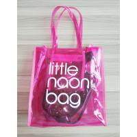 Clear Pink PVC Tote Bag Storage Organizer with Zipper Closure, Inner Pocket - Perfect for Work, Sports, Beach, Travel
