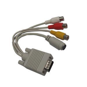 China VGA To Svideo and 3RCA Female Cable/VGA TO RCA CABLE/VGA TO Svideo cable/Y cable on sale