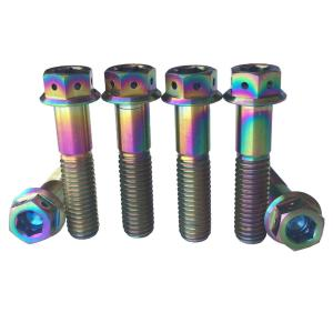 China M8X35 Colorful Motorbike Titanium Bolts Allen Hex Hole Flange Head Grade 5 on sale