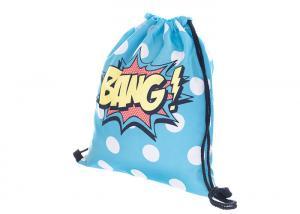 China Folding Girls Drawstring Book Bag , Printed Drawstring Bag For School on sale