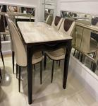 Scratch Resistant Artificial Marble Top Dining Table Set With Gold Plated Iron Pipe Keel