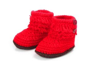 China Wholesale Handmade Crochet Baby Booties Infant Shoes on sale