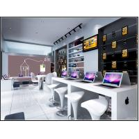 Modern style Apple Store and service center by white slat wall racks and fiber glass counters with leisure chair