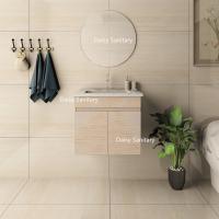 China Wood Grain PVC Modern Sink Vanity Adjustable Shelf Inside Customized Size on sale