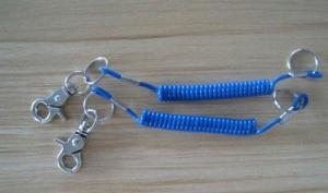 China Snap hook&key ring ends combination key keeper coil tether fashion blue lanyard cables on sale