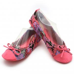 China Soft Fluffy Elastic Ballet Flat Shoes Comfortable Ballet Flats Pink Tropical Printing on sale
