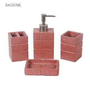 China Support de brosse concret rouge de toilette/distributeur concret de savon pour le cadeau de nouvelle maison on sale