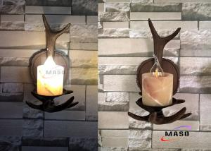 China Maso Single Lamp Holder American Domestic Market Popular Retro Vintage Wall Sconce E14 Base Lamp MS-W2001 Wooden Color on sale