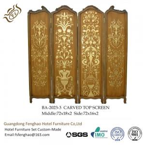 China Vintage Hand Painting 4 Panel Room DividerGolden Carved Folding Wall Divider on sale