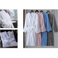100% Cotton Material Hotel Spa Bathrobe White Kimono Collar With Logo