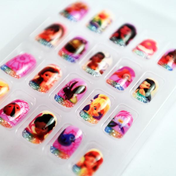 Cute French Tip Brand Nail Art Barbie Doll Colorful Fake Nails For