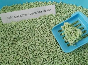 China Biodegrable and flushable green tea cat litter no chemical additives on sale