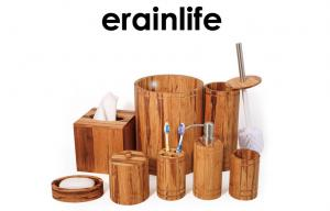 China Natural Bamboo Bathroom Accessory Set of 8 pcs Spa Shower Collection Brown Color on sale