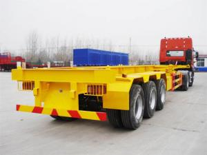 China 3 Axle 45 ton 40ft Flatbed Container Skeleton Semi Trailer with Container Lock on sale