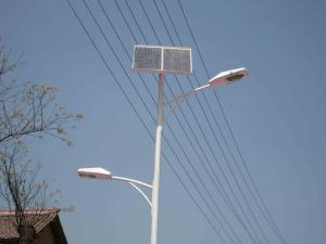 China 100 watt Solar and wind hybrid energy street lights with Silicon battery 100A - 120A on sale