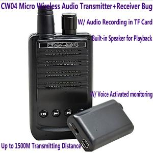 China CW04 Mini Wireless Remote Audio Transmitter Receiver Spy Bug W/ Voice Recording in TF Card on sale