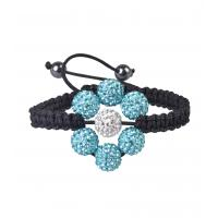 Tresor Paris Light Blue Flower 10mm Shamballa Crystal Bangle Bracelet
