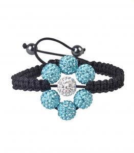 China Tresor Paris Light Blue Flower 10mm Shamballa Crystal Bangle Bracelet on sale
