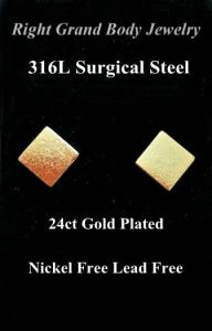 China Square Piercing Earrings Studs , 24K Gold Earrings For Party / Wedding on sale
