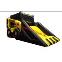 Mini yellow and black loader inflatable bouncer slide combo