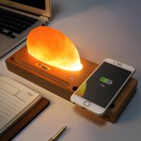 Beech Wireless Qi Charger Mineral Rock LED lamp Wireless Charging Pad for Smartphone