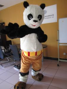 Quality custom adults cartoon Kungfu Panda mascot costumes with plush for sale