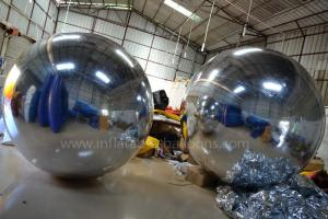 China 2m Silver Inflatable Advertising Balloons , Inflatable Mirror Balloons Decoration on sale