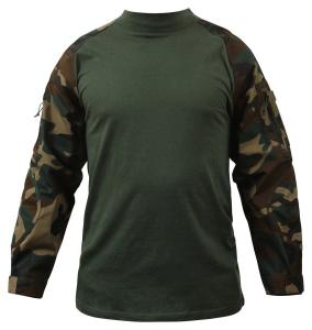 China Digital Woodland Tactical Combat Shirt Breathable Polyester Fabric on sale
