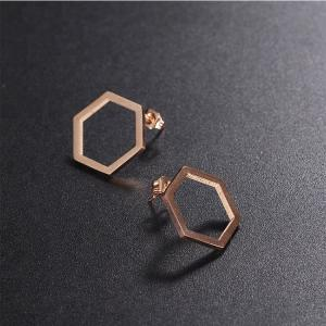China EAST QUEEN Wholesale Hot Selling Fashion 316L Stainless Steel Hexagon Stud Earrings on sale