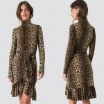 Autumn Fashion Women Long Sleeve And High Neck Leo Polo Dress Brown