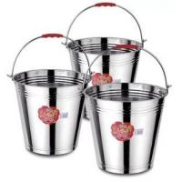 China Silver Color Stainless Steel Water Bucket With Handle  7L / 9L / 10L Mirror Polished on sale