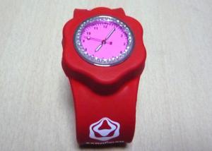 China 1 ATM Red Rhinestone Silicone Bracelet Slap Wristband Watches with Phosphor Powder on sale