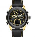 analog digital watch leather watch bands men 30m waterproof multifunction sport watches