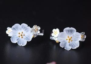 China Ancient Style Sterling Silver Crystal Earrings in Plum Blossom Shape on sale